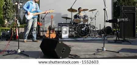 Band preparing for the show - stock photo