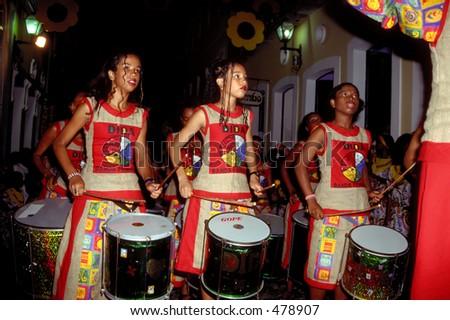 Banda Dida performs during Carnival - Salvador da Bahia, Brazil - stock photo