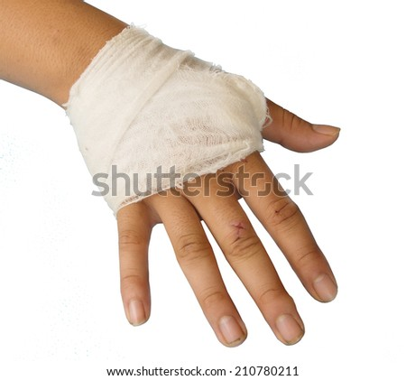 bandage circle around hand. - stock photo