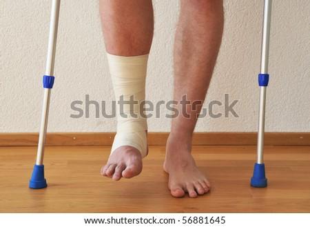 Bandage on the leg - stock photo