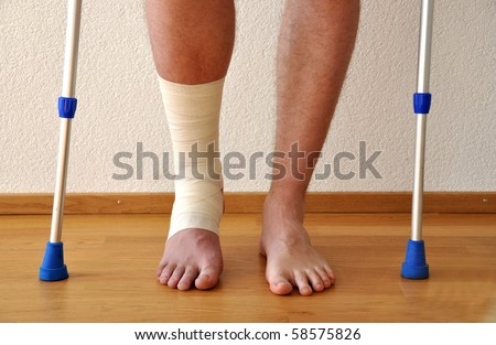Bandage on the leg - stock photo