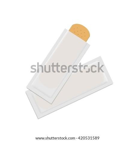 Bandage Plaster Aid Band Medical Adhesive Set Isolated on White Background - stock photo