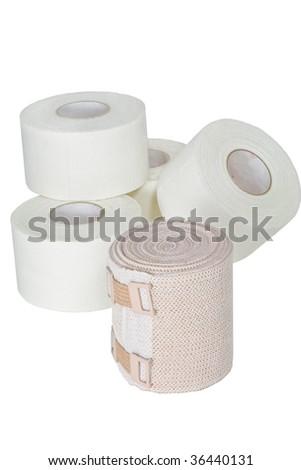 Bandages Isolated on white - stock photo