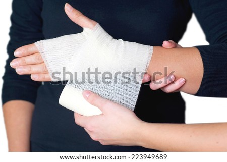 bandaging on the wrist - stock photo