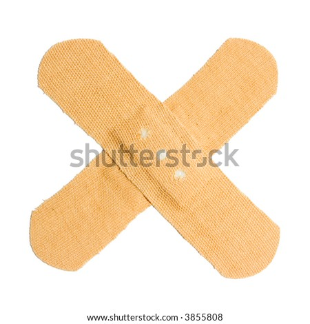Bandaid cross isolated on white