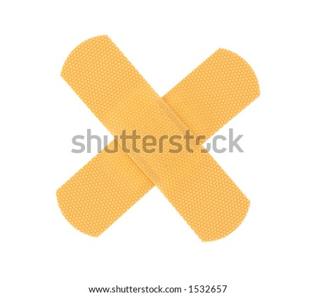 bandaid cross on pure white background