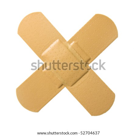 Bandaid in cross shape, isolated white background.