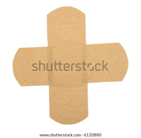 Bandaids thrown over each other (Includes clipping mask) - stock photo