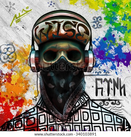 bandana skull art (graffiti at the background means Turk from Orkhon inscriptions) - stock photo