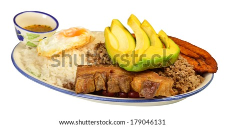 Bandeja paisa. Colombian cuisine. - stock photo