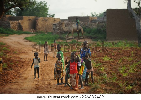 Bandiagara, Mali, Africa - August 27, 2011  Children playing in Dogon village - stock photo