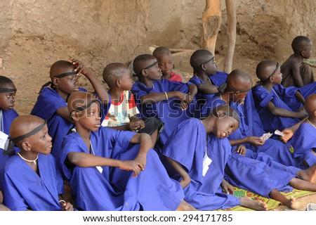 Bandiagara, Mali, Africa - September 05, 2011:  Bandiagara muslim children preparing for circumcision - stock photo