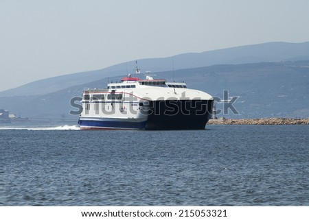 BANDIRMA, TURKEY - JULY 10: Ferries run between Istanbul and Bandirma at the entrance to the sea port Bandirma on July 10, 2014 in Bandirma.