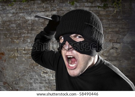 Bandit attacking the camera - stock photo