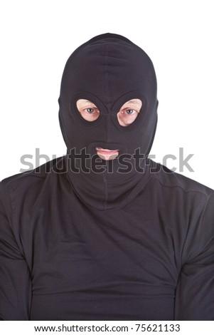 bandit close-up isolated on white background - stock photo