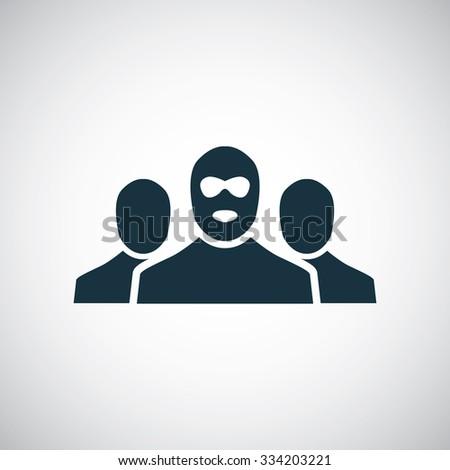 bandit group icon, on white background - stock photo