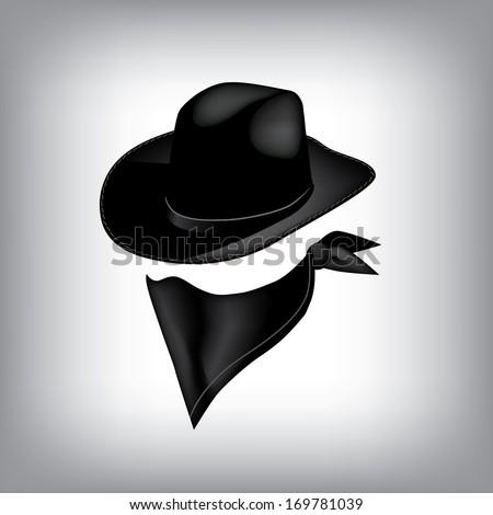 Bandit hat and bandana. Jpg. - stock photo