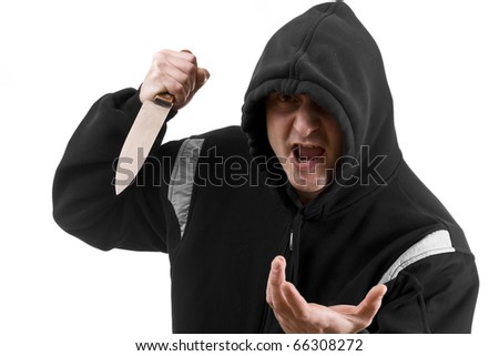Bandit in black with knife,  isolated on white background - stock photo