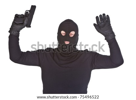 bandit surrendering, isolated on white background - stock photo