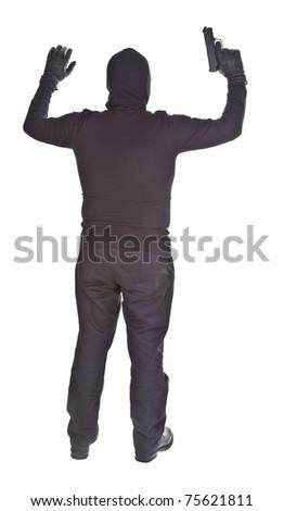 bandit surrendering isolated on white background - stock photo