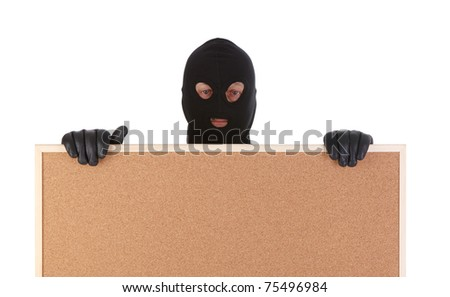 bandit with corkboard isolated on white background - stock photo