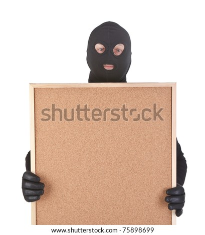 bandit with empty corkboard isolated on white background - stock photo