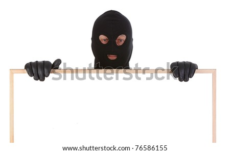 bandit with hollow frame isolated on white background - stock photo