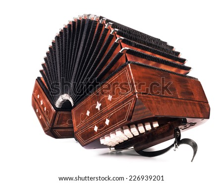 Bandoneon, tango instrument, three quarters view on white background  - stock photo