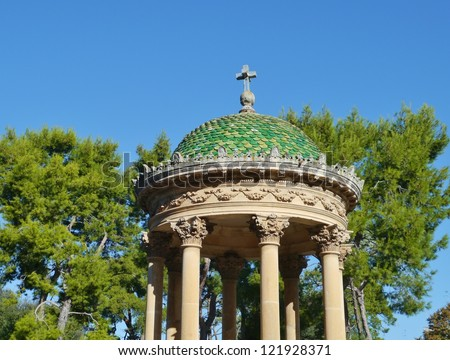 Bandstand for musical performances with a green roof in a park in Lecce in Italy - stock photo