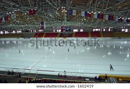Bandy in new Ice Stadium Krylatskoe. Moscow - stock photo