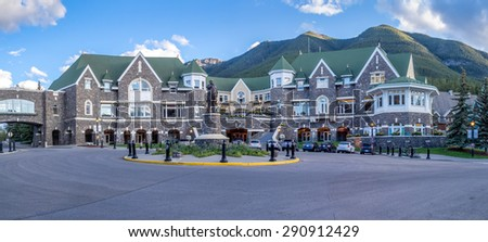 BANFF, ALBERTA - JUNE 19: Panorama of the Banff Springs Hotel conference centre on June 19, 2015 in Banff National Park. The Banff Springs was built during the 19th century in Scottish Baronial style - stock photo