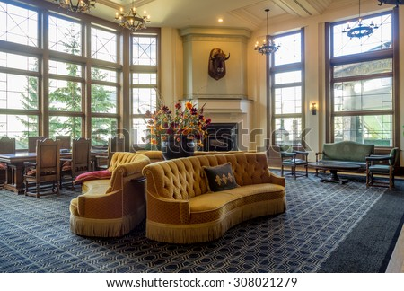 BANFF, CANADA - AUG 9, 2015: Interior of the Banff Springs Hotel on August 9, 2015 in the Canadian Rockies. The Banff Springs Hotel was built during the 19th century in Scottish Baronial style - stock photo