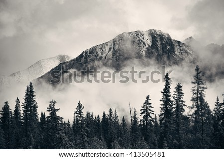 Banff national park foggy mountains and forest in Canada. - stock photo