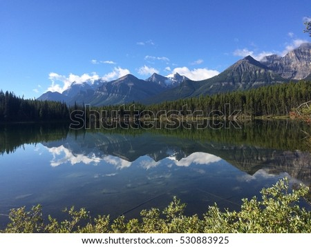Banff National Park Lake with reflection with Trees