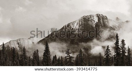 Banff national park view panorama with foggy mountains and forest in Canada. - stock photo