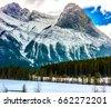 Banff National park winter mountain background landscape in Alberta