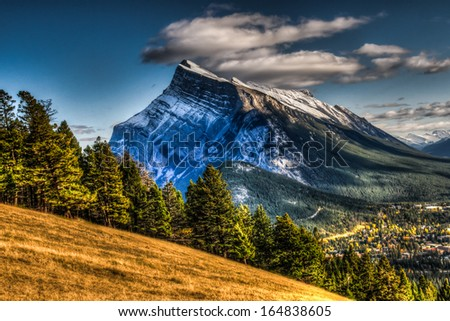 Banff Town-site in the Rocky Mountains Alberta Canada - stock photo