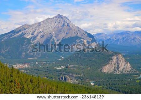 Banff Town view from Sulphur Mountain in Alberta, Canada - stock photo