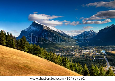 Banff Townsite in the Rocky Mountains Alberta Canada - stock photo