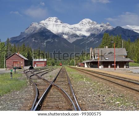 Banff Train Station, Banff National Park, Alberta, Canada - stock photo