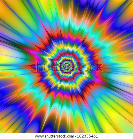 Bang! / Digital abstract fractal image with a color explosion design in blue, yellow, green and pink.