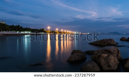 Bang Saen beach at night