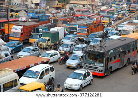 BANGALORE, INDIA - Dec 14: Bangalore city is one of the most dense traffic cities in India, With one vehicle per every two individuals, on December 14, 2015.  - stock photo