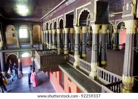 BANGALORE, INDIA - MARCH 21: Interior of Tipu Sultan's Palace on March 21, 2011, Bangalore, India. This symmetrical  palace was built over 10 years from 1781 to 1791. - stock photo