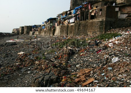 Banganga Village in Bombay City, India - stock photo