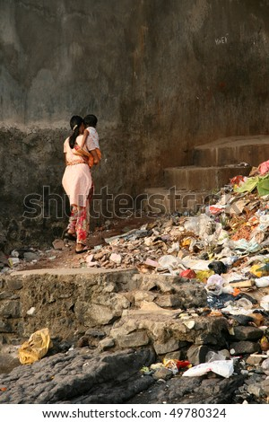 Banganga Village in Bombay City, India - stock photo