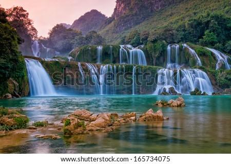 Bangioc waterfall in Caobang, Vietnam - stock photo