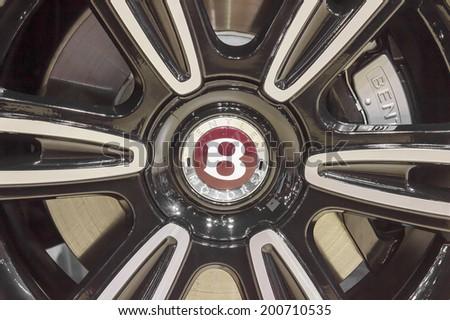 BANGKOK - APRIL 2: Bentley wheel on display at The 35th Bangkok International Motor Show on April 2, 2014 in Bangkok, Thailand. - stock photo