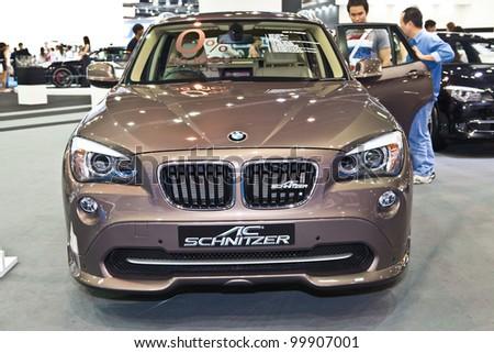 BANGKOK - APRIL 8: BMW car modify from AC Schnitzer on display in Challenger Hall, Impact Muangthong Thani,The 33 rd Bangkok International Motor Show in Bangkok,Thailand on April 8, 2012. - stock photo