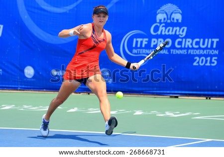 BANGKOK, APRIL 4 : Chanel Simmonds of South Africa action in Chang ITF Pro Circuit International Tennis Federation 2015 at Rama Gardens Hotel on April 4, 2015 in Bangkok Thailand. She won in the match - stock photo